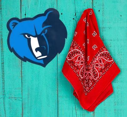 Red bandana hanging on wood background