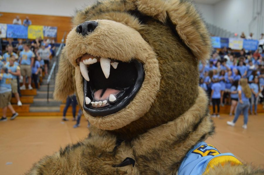 The+bruin+mascot+takes+a+selfie.