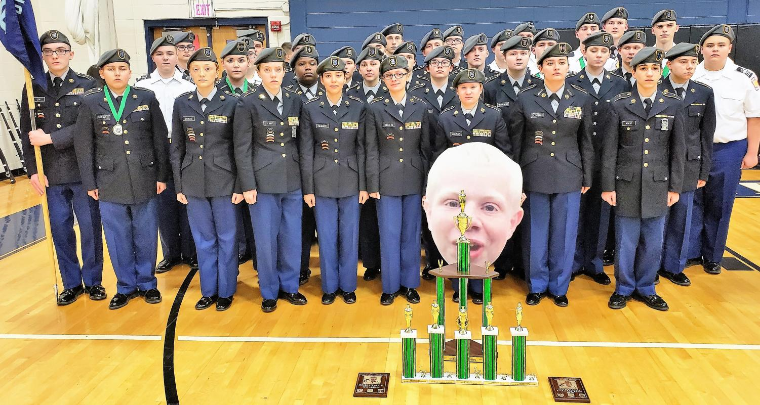 The Central Hardin Army JROTC drill team is pictured winning their 4th straight North Bullitt Invitational Drill Meet.  29 Teams from IN, TN, and KY competed in the meet that now honors the memory of North Bullitt H.S. Cadet Jesse Schott.