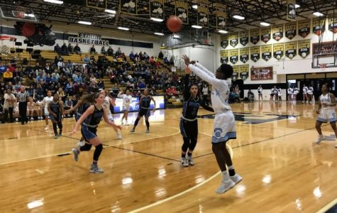 Sophomore guard Kaniya Kendricks drains a shot in the third quarter against North Hardin in 17th District play at E-town on Feb. 21.