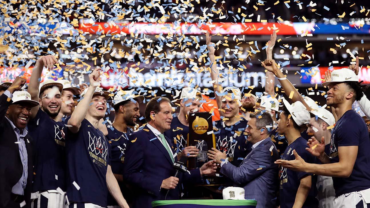 Virginia celebrating their Championship win
