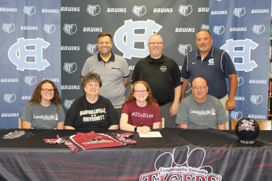 Rachel+Langford+signed+with+the+Campbellsville+University+bowling+team+on+May+29.