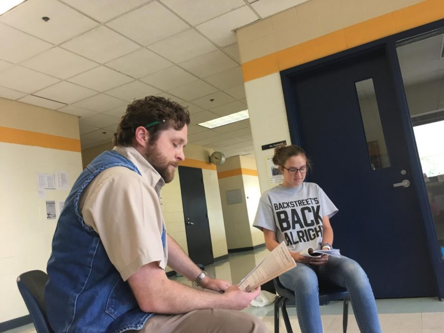 Mr. Eaton and senior Ashlyn Whitson rehearsing for the Drama Club's production of the Laramie Project