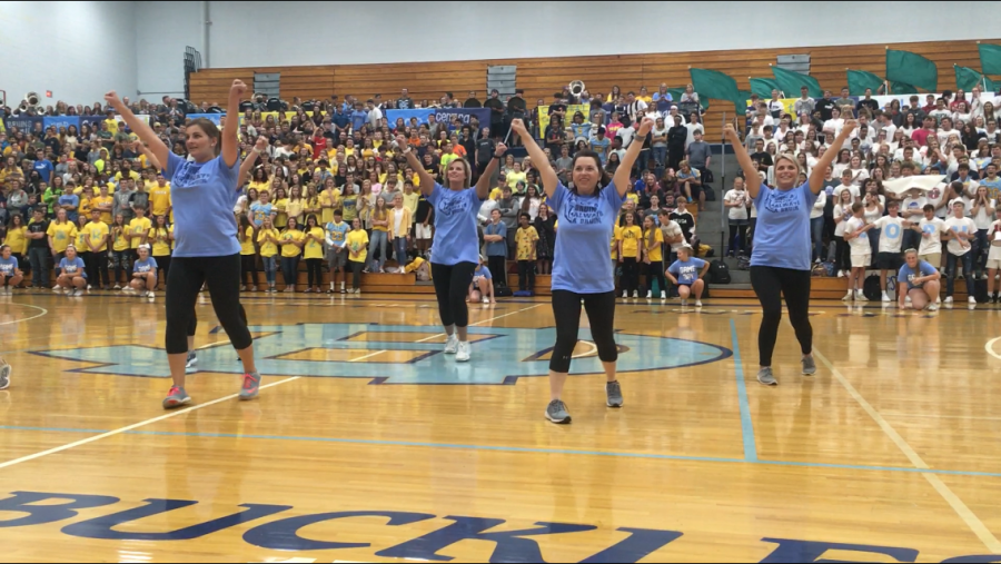 Central Hardin cheerleaders turned staff cheer to the fight song.