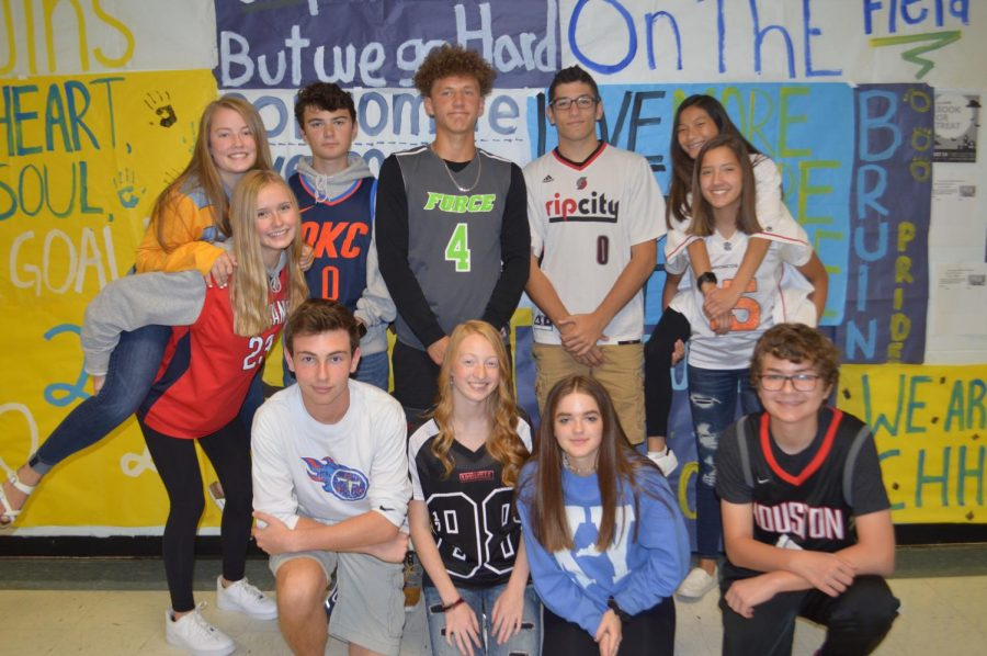 Some students from the sophomore class who dressed up for spirit week on jersey day.