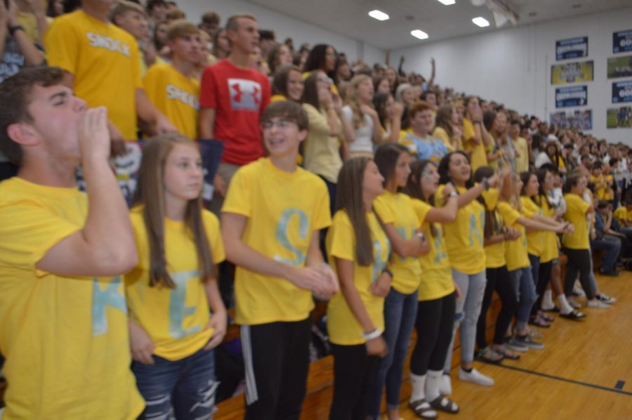 The freshman class cheering at the pep rally.