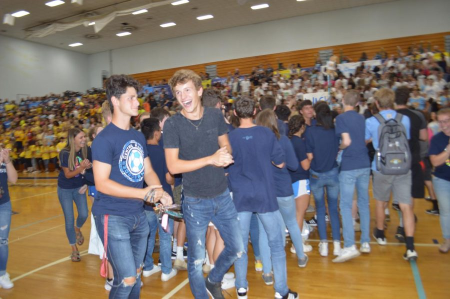 Junior class celebrating their win of the spirit stick.