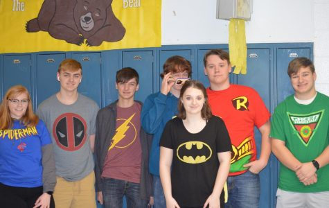 Students from Ms. Wortham's class wear their favorite superheroes.