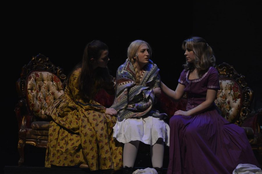 Students performing in Little Women the Musical in March of 2020; Left to Right: Savannah Weber, Julia Pelston, Lauren Brooks