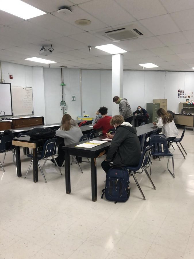 Students in biology teacher Jared Eaton's class work hard during third block on Feb. 8.