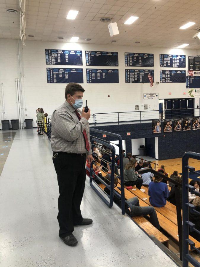Assistant Principal Matt Baucum patrols lunch in the big gym. (April 12)