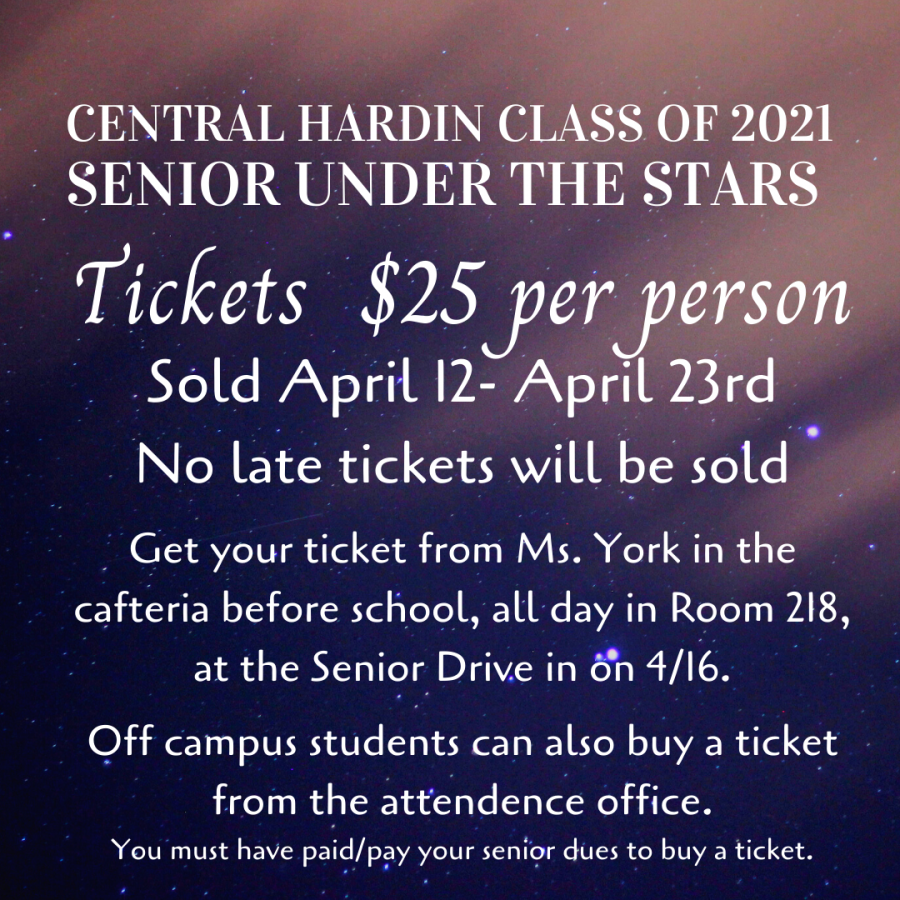 Senior Under the Stars Update: Menu & Tickets