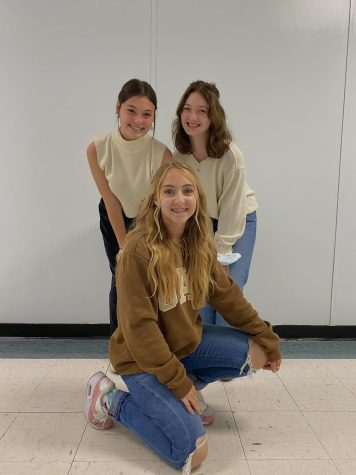 Senior Claire Prater and juniors Maggie Phelps and Lilly Keith posing in their fall outfits (Oct. 13)
